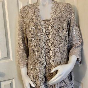 2 pcs sequined women's evening dress